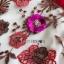 เดรสผ้าลูกไม้ทอลายดอกไม้และตกแต่งดอกไม้สีแดง thumbnail 9