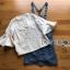 เซ็ตเสื้อคอตตอนสีขาวฉลุลายแขนบานและเดรสเอี๊ยมผ้าเดนิม thumbnail 5