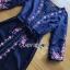เดรสยาวผ้าเครปสีกรมท่าปักลายดอกไม้ thumbnail 4