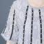 เดรสผ้าลูกไม้ช่วงอกและแขนเย็บติดเส้นริบบิ้นประดับมุกสีขาว thumbnail 9