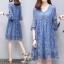 ชุดเดรสผ้าชีฟองญี่ปุ่นสีฟ้า thumbnail 1