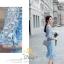 ชุดเดรสผ้าลูกไม้ คอวีใช้ผ้าลูกไม้สีฟ้า thumbnail 4