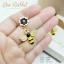 ต่างหูตุ้งติ้งเคลือบอินาเมล รูปผึ้งดอกไม้ ฝังเพชรขาวขุ่น thumbnail 1