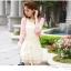 Tokyo Fashion เดรสแขนสั้นผ้าซีฟอง แต่งคอดอกไม้ชายกระโปรงตัดต่อด้วยผ้าลูกไม้ thumbnail 5