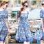 เดรสผ้าเครปพิมพ์ลายสีฟ้า-ขาวสไตล์แบรนด์ thumbnail 3