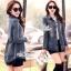 Jacket ยีนส์งานเกาหลี ประดับผ้าลูกไม้สีดำปลายเสื้อ thumbnail 3