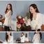 RJ.Story เสื้อแฟชั่นคอวีแขนยาวสีขาวผ้าซีฟองเกาหลี thumbnail 5