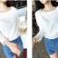 เสื้อแฟชั่นคอกลมสีขาวแขนยาวตัดต่อผ้าลูกไม้ลายดอกไม้สีขาวค่ะ thumbnail 3
