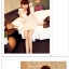 Qzsn เดรสแฟชั่นผ้าตีเกร็ด แขนพองๆด้วยผ้าซีฟอง สีครีม thumbnail 4
