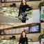 เดรสแฟชั่นเกาหลีเสื้อแขนยาวตัดต่อกระโปรงดีเทลปักลายโทนสีขาว(แถมเข็มขัด)มี S / L thumbnail 5