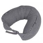 หมอนรองคอ #08 : สีดำ - เทา ลายทางใหญ่ (black gray stripe cotton)