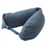 หมอนรองคอ #14 : สีฟ้า - เทา ลายทางใหญ่ (Blue gray stripe cotton)