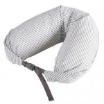 หมอนรองคอ #09 : สีขาว - เทา ลายทางใหญ่ (white gray stripe cotton)