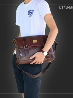 LT43-Brown กระเป๋าสะพายข้าง หนัง PU สีน้ำตาล Three box