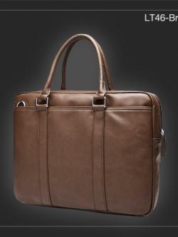 LT46-Brown กระเป๋าถือผู้ชาย + สะพายข้าง หนัง PU สีน้ำตาล