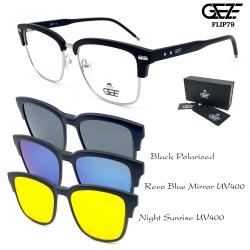 แว่นตากรองแสง GEZE รุ่น FLIP79 ( Vintage ) Magnatic 3 Clip-On UV400 ผลิตจากพลาสติก TR90
