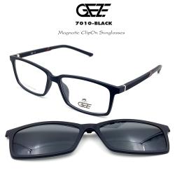 กรอบแว่นตากรองแสง ฟรี คลิปออนกันแดดสีดำ Polarized GEZE 1ClipOn รุ่น 7010 สีดำ ป้องกันแสงแดด รังสี UVA UVB UV400 ลดอาการแสบตา ได้อย่างดีเยี่ยม