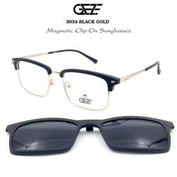 กรอบแว่นตากรองแสง ฟรี คลิปออนกันแดดสีดำ Polarized GEZE 1ClipOn รุ่น 3034 สีดำ ขาสีทอง ป้องกันแสงแดด รังสี UVA UVB UV400 ลดอาการแสบตา ได้อย่างดีเยี่ยม