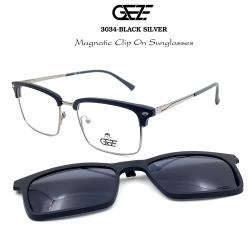 กรอบแว่นตากรองแสง ฟรี คลิปออนกันแดดสีดำ Polarized GEZE 1ClipOn รุ่น 3034 สีดำ ขาสีเงิน ป้องกันแสงแดด รังสี UVA UVB UV400 ลดอาการแสบตา ได้อย่างดีเยี่ยม