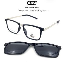 กรอบแว่นตากรองแสง ฟรี คลิปออนกันแดดสีดำ Polarized GEZE 1ClipOn รุ่น 9902 สีดำ ขาสีเงิน ป้องกันแสงแดด รังสี UVA UVB UV400 ลดอาการแสบตา ได้อย่างดีเยี่ยม