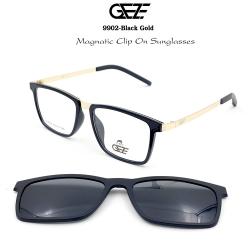 กรอบแว่นตากรองแสง ฟรี คลิปออนกันแดดสีดำ Polarized GEZE 1ClipOn รุ่น 9902 สีดำ ขาสีทอง ป้องกันแสงแดด รังสี UVA UVB UV400 ลดอาการแสบตา ได้อย่างดีเยี่ยม