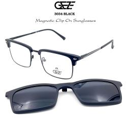 กรอบแว่นตากรองแสง ฟรี คลิปออนกันแดดสีดำ Polarized GEZE 1ClipOn รุ่น 3034 สีดำ ป้องกันแสงแดด รังสี UVA UVB UV400 ลดอาการแสบตา ได้อย่างดีเยี่ยม