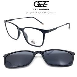 กรอบแว่นตากรองแสง ฟรี คลิปออนกันแดดสีดำ Polarized GEZE 1ClipOn รุ่น 7702 สีดำเงา ป้องกันแสงแดด รังสี UVA UVB UV400 ลดอาการแสบตา ได้อย่างดีเยี่ยม