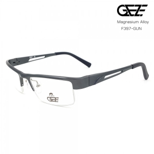 แว่นตาผู้ชาย โลหะ Magnesium น้ำหนักเบา ใส่สบาย GEZE SABER รุ่น F397 สีเทาเข้ม อายุการใช้งานยาวนาน ด้วยโลหะ Aluminium Magnesium Alloy